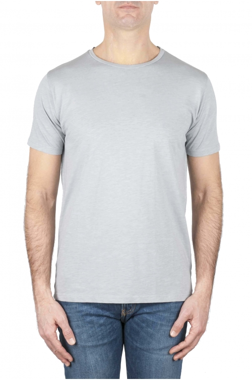 SBU 01639 Flamed cotton scoop neck t-shirt pearl grey 01
