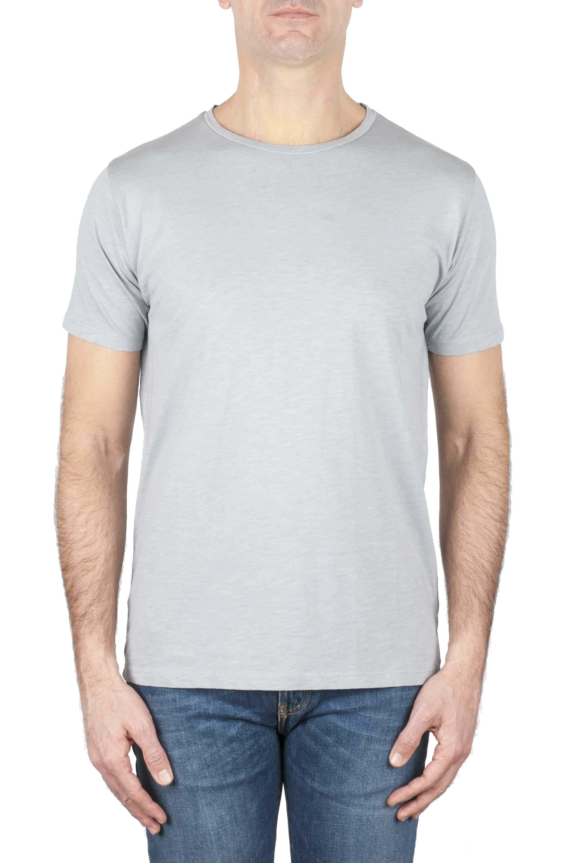 SBU 01639 T-shirt girocollo aperto in cotone fiammato grigio perla 01