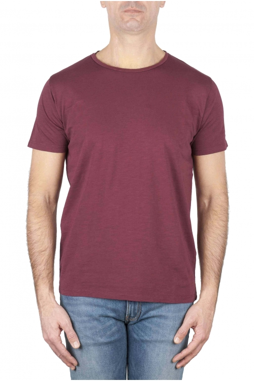 SBU 01640 Flamed cotton scoop neck t-shirt bordeaux 01