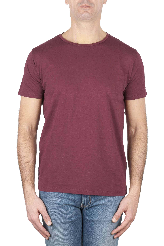 SBU 01640 T-shirt girocollo aperto in cotone fiammato bordeaux 01