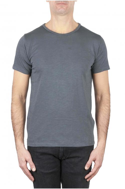 SBU 01641 T-shirt girocollo aperto in cotone fiammato grigio scuro 01