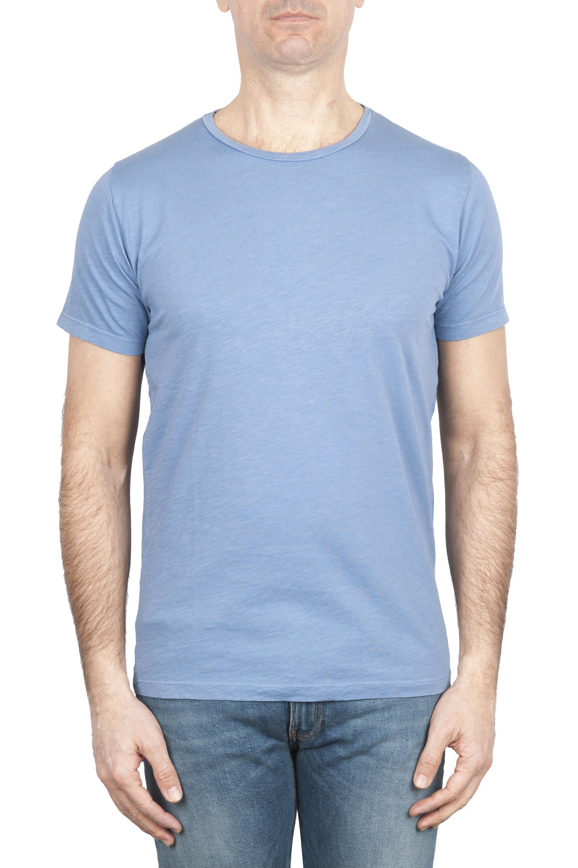SBU 01642 T-shirt girocollo aperto in cotone fiammato celeste 01