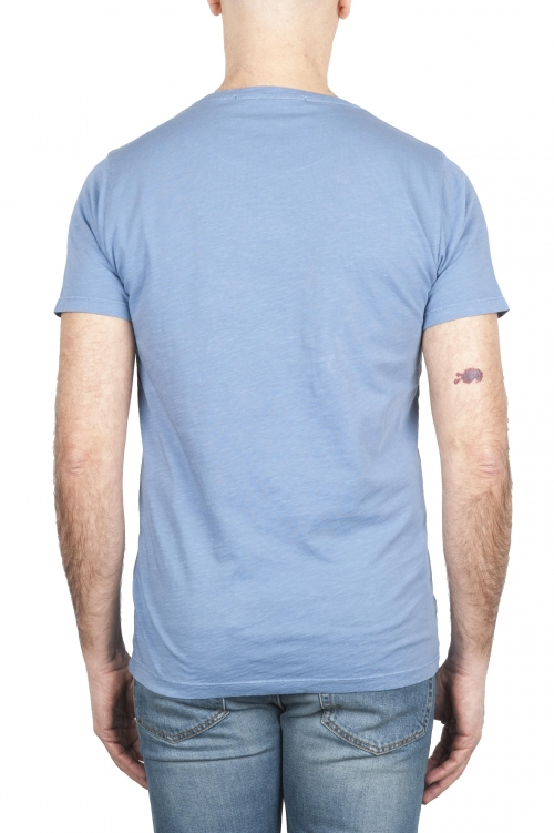 SBU 01642 T-shirt à col rond en coton flammé bleu clair 01