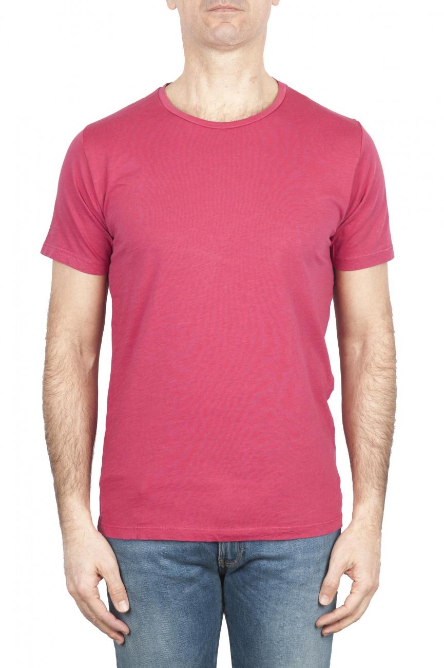 SBU 01643 T-shirt girocollo aperto in cotone fiammato rossa 01