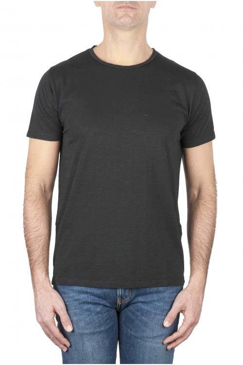 SBU 01644 Flamed cotton scoop neck t-shirt black 01