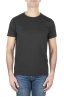 SBU 01644 T-shirt girocollo aperto in cotone fiammato nera 01