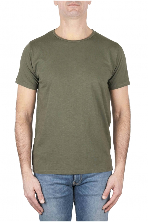 SBU 01645 T-shirt à col rond en coton flammé vert 01