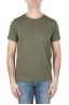 SBU 01645 T-shirt girocollo aperto in cotone fiammato verde 01