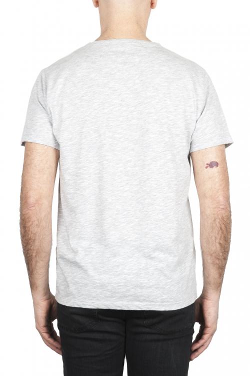 SBU 01646 T-shirt girocollo aperto in cotone fiammato grigio melange 01