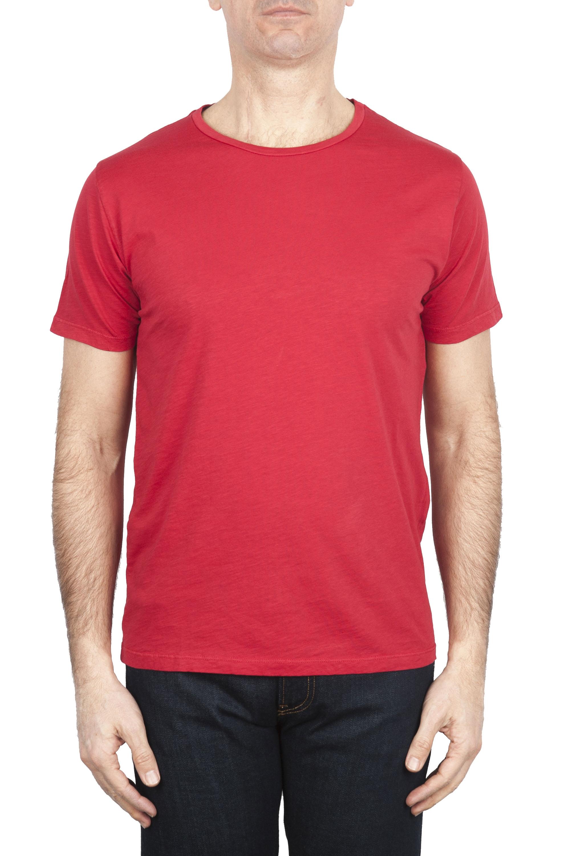 SBU 01647 T-shirt girocollo aperto in cotone fiammato rossa 01