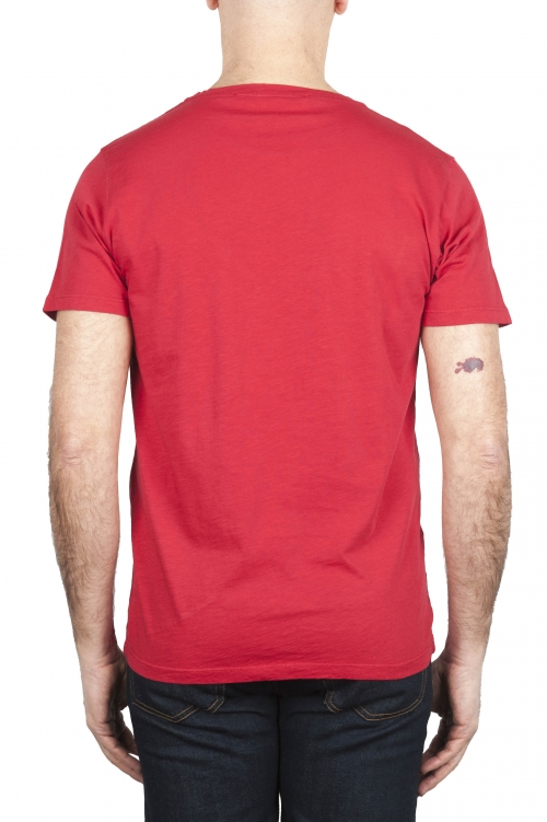 SBU 01647 Flamed cotton scoop neck t-shirt red 01