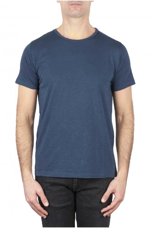 SBU 01648 T-shirt girocollo aperto in cotone fiammato blu 01