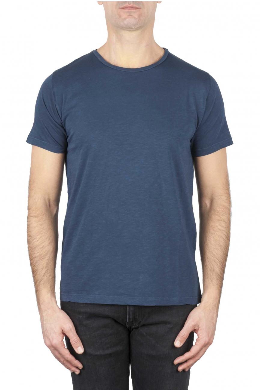 SBU 01648 Camiseta de algodón con cuello redondo en color azul 01