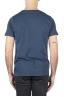 SBU 01648 T-shirt girocollo aperto in cotone fiammato blu 05