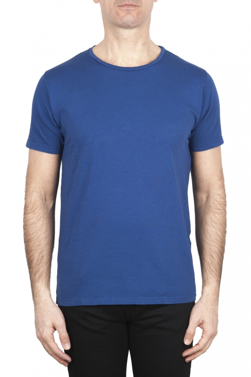 SBU 01649 Flamed cotton scoop neck t-shirt blue 01
