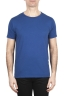 SBU 01649 T-shirt girocollo aperto in cotone fiammato blu 01