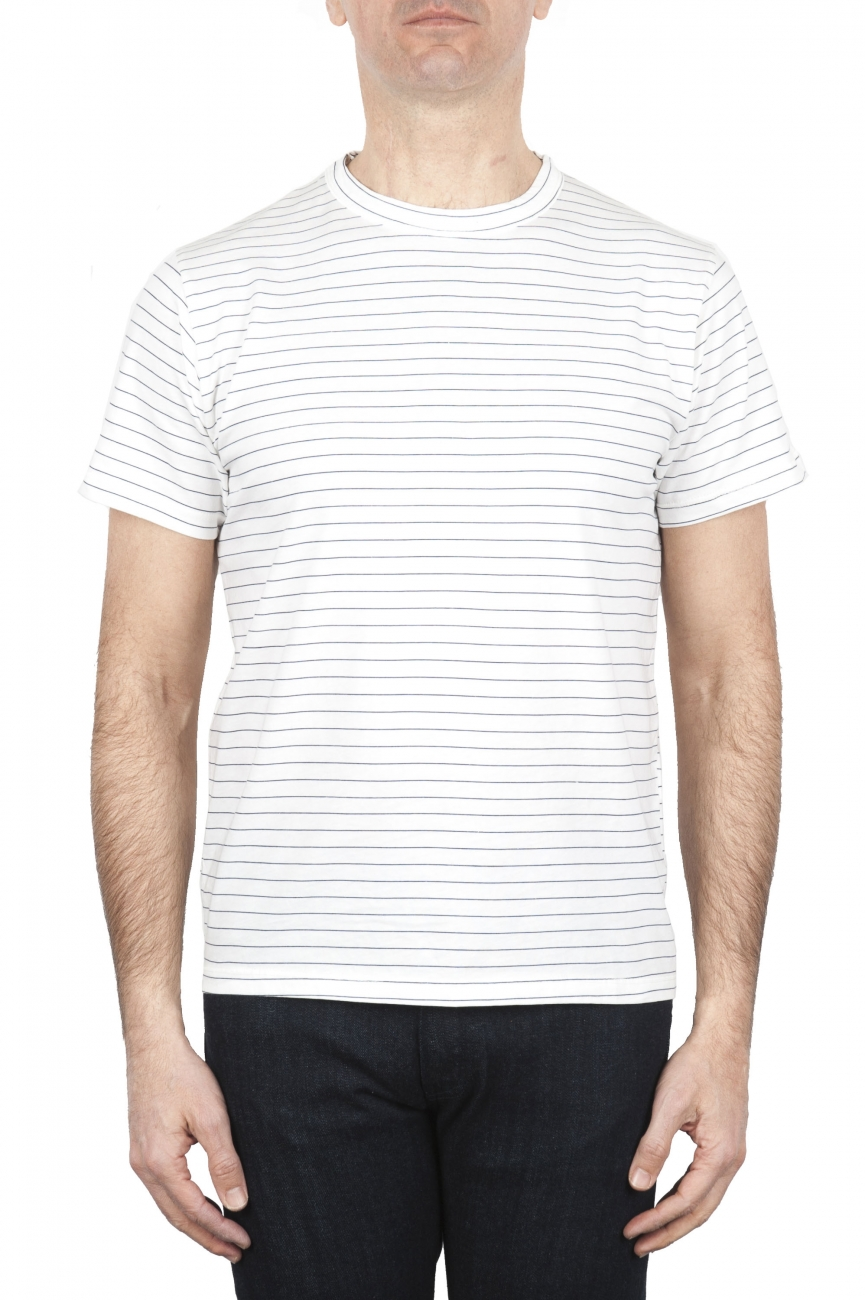 SBU 01650 白と青のストライプコットンスクープネックTシャツ 01