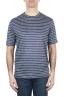 SBU 01651 Camiseta a rayas de lino con cuello redondo en azul y blanco 01