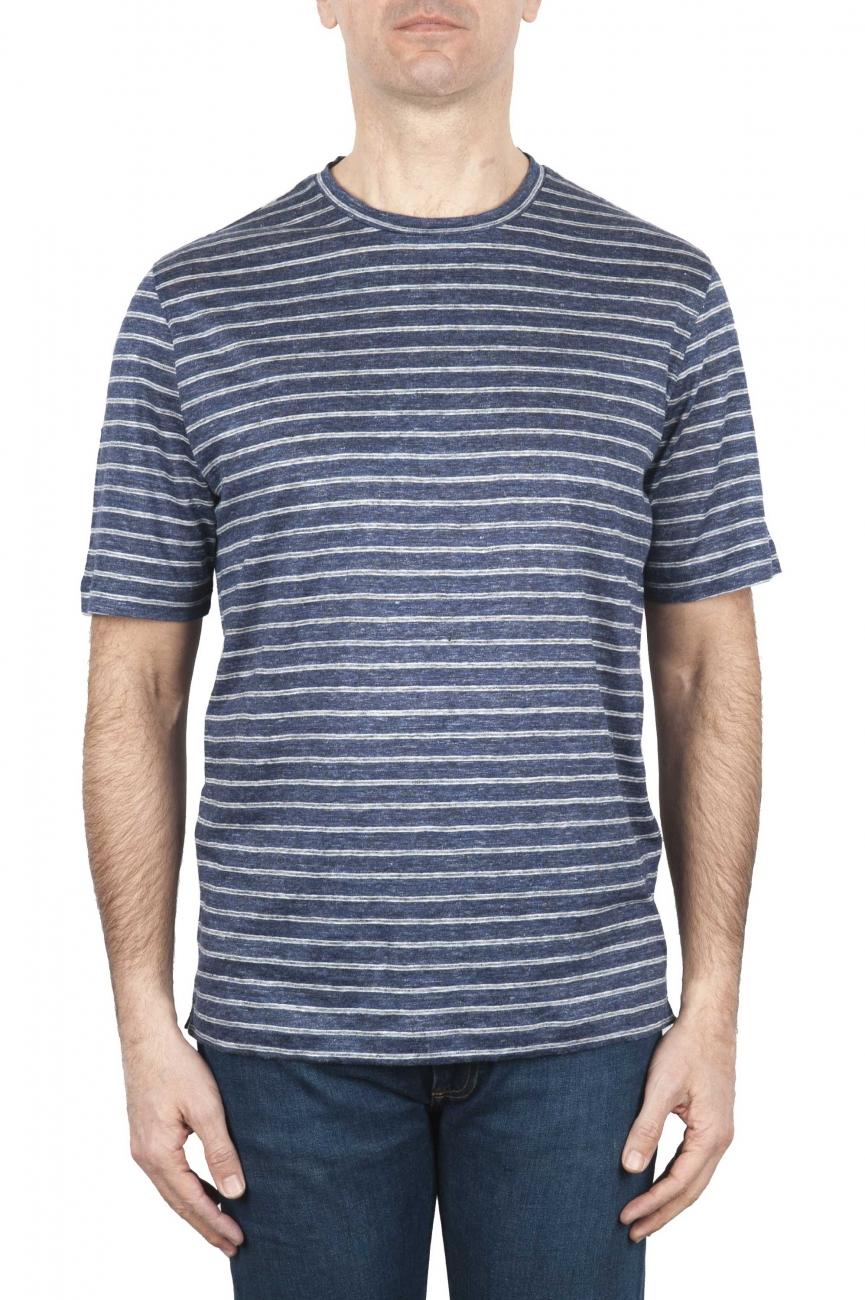 SBU 01651 T-shirt à col rond en lin rayé bleu et blanc 01