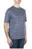 SBU 01651 T-shirt à col rond en lin rayé bleu et blanc 02