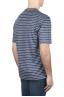 SBU 01651 Camiseta a rayas de lino con cuello redondo en azul y blanco 04