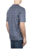 SBU 01651 T-shirt à col rond en lin rayé bleu et blanc 04