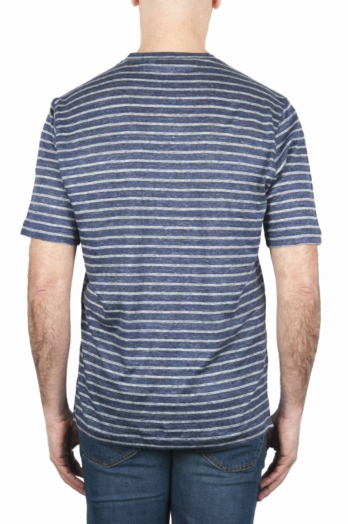 SBU 01651 青と白のストライプのリネンスクープネックTシャツ 01