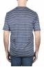 SBU 01651 T-shirt à col rond en lin rayé bleu et blanc 05