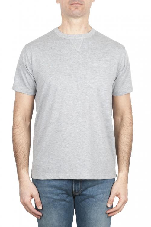 SBU 01652 ラウンドネックパッチポケットコットンTシャツメランジュグレー 01