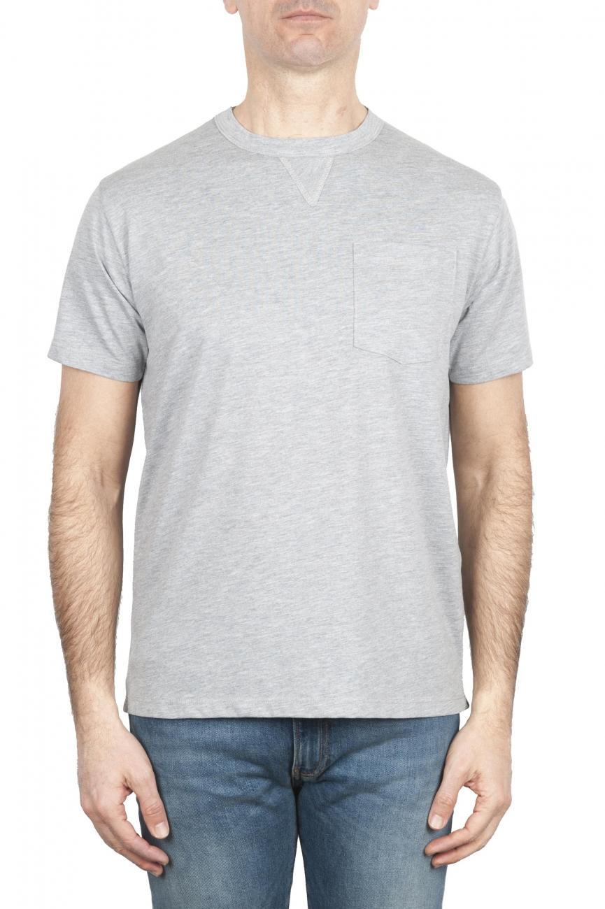 SBU 01652 Camiseta de algodón gris melange de cuello redondo y bolsillo de parche 01