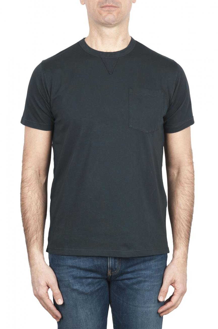SBU 01653 Camiseta de algodón antracita de cuello redondo y bolsillo de parche 01