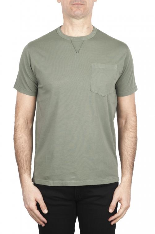 SBU 01654 Camiseta de algodón verde de cuello redondo y bolsillo de parche 01