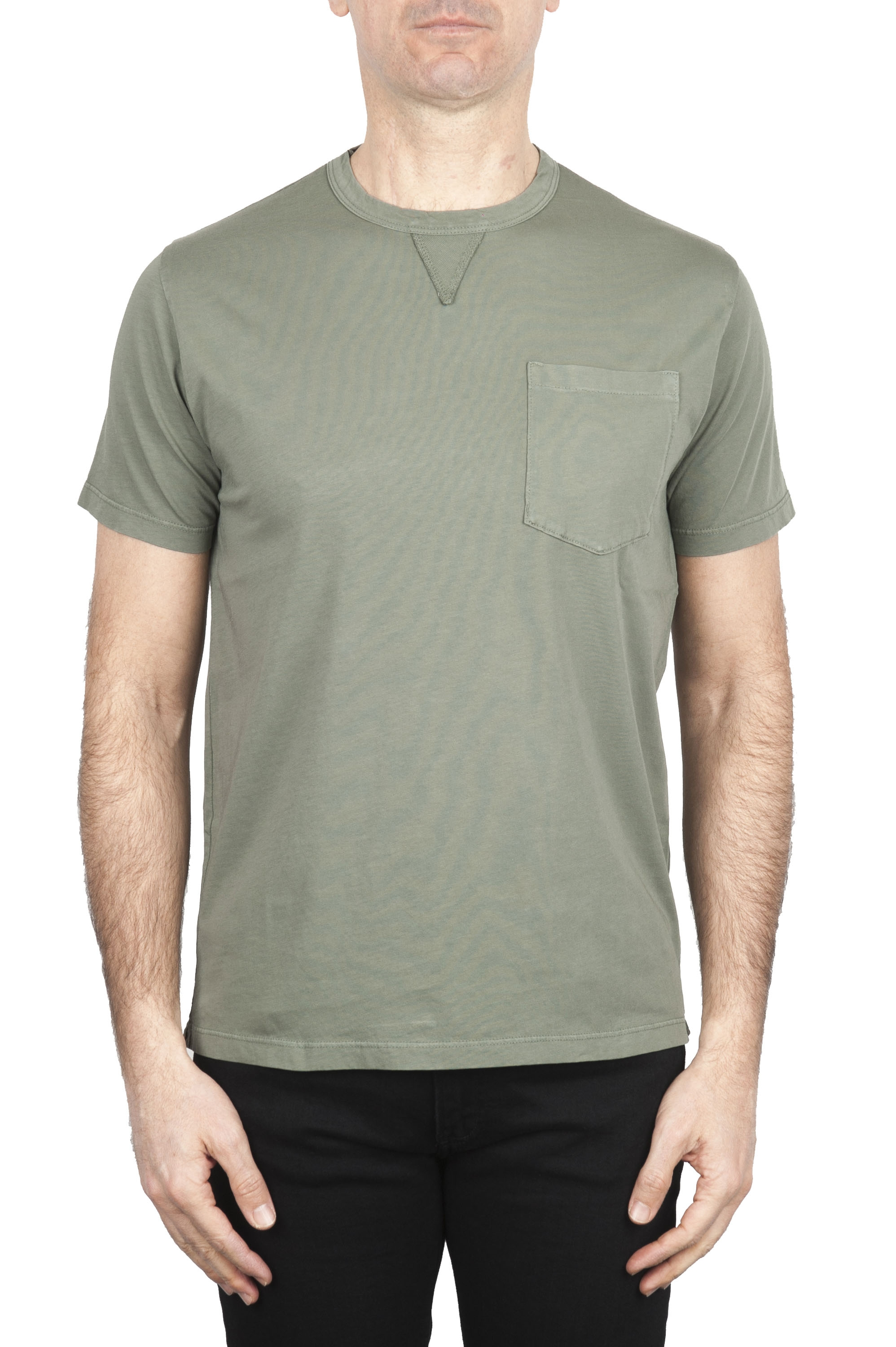 SBU 01654 Round neck patch pocket cotton t-shirt green 01
