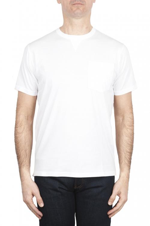 SBU 01655 Camiseta de algodón blanca de cuello redondo y bolsillo de parche 01