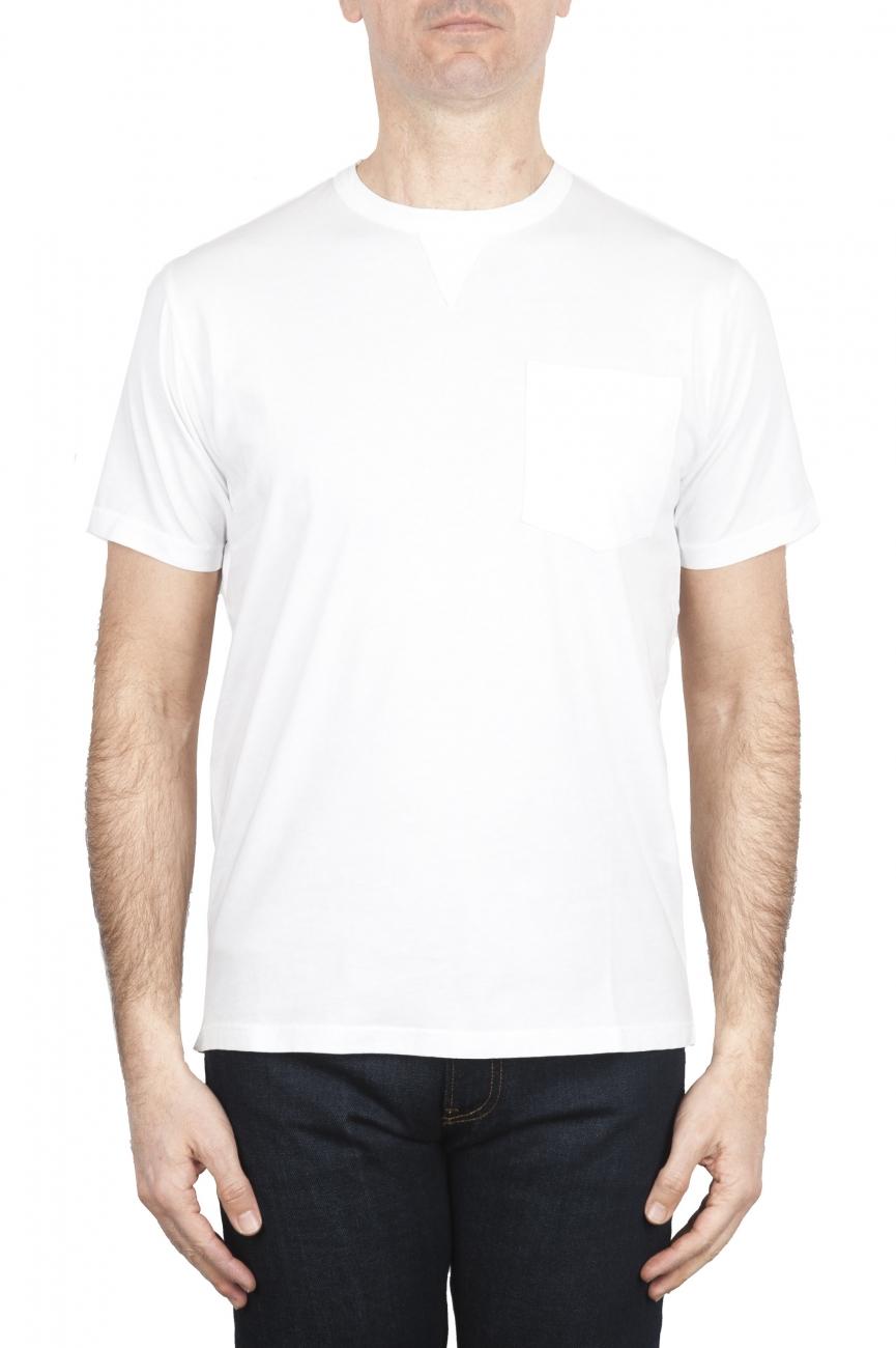 SBU 01655 T-shirt girocollo in cotone con taschino bianca 01