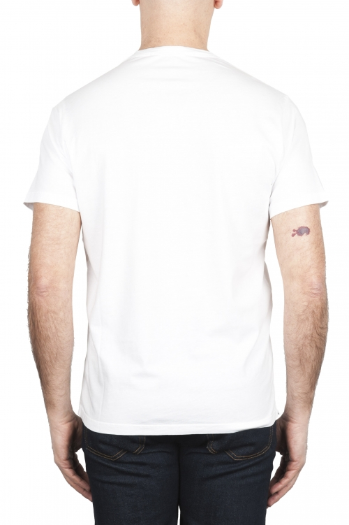 SBU 01655 Round neck patch pocket cotton t-shirt white 01