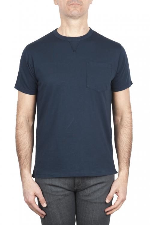 SBU 01656 ラウンドネックパッチポケットコットンTシャツネイビーブルー 01