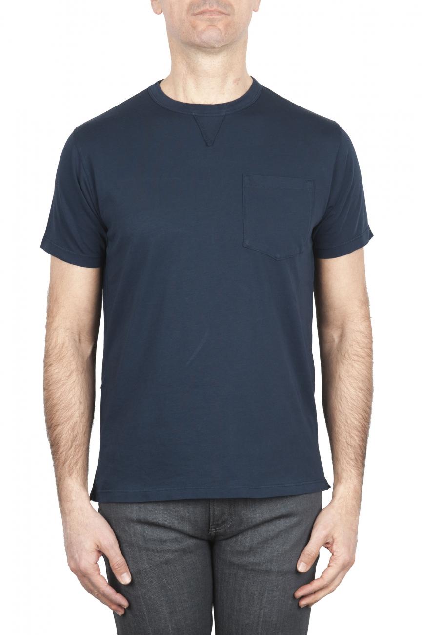 SBU 01656 Camiseta de algodón azul marino de cuello redondo y bolsillo de parche 01