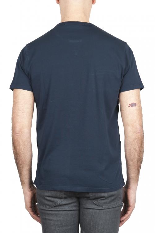SBU 01656 T-shirt girocollo in cotone con taschino blu navy 01
