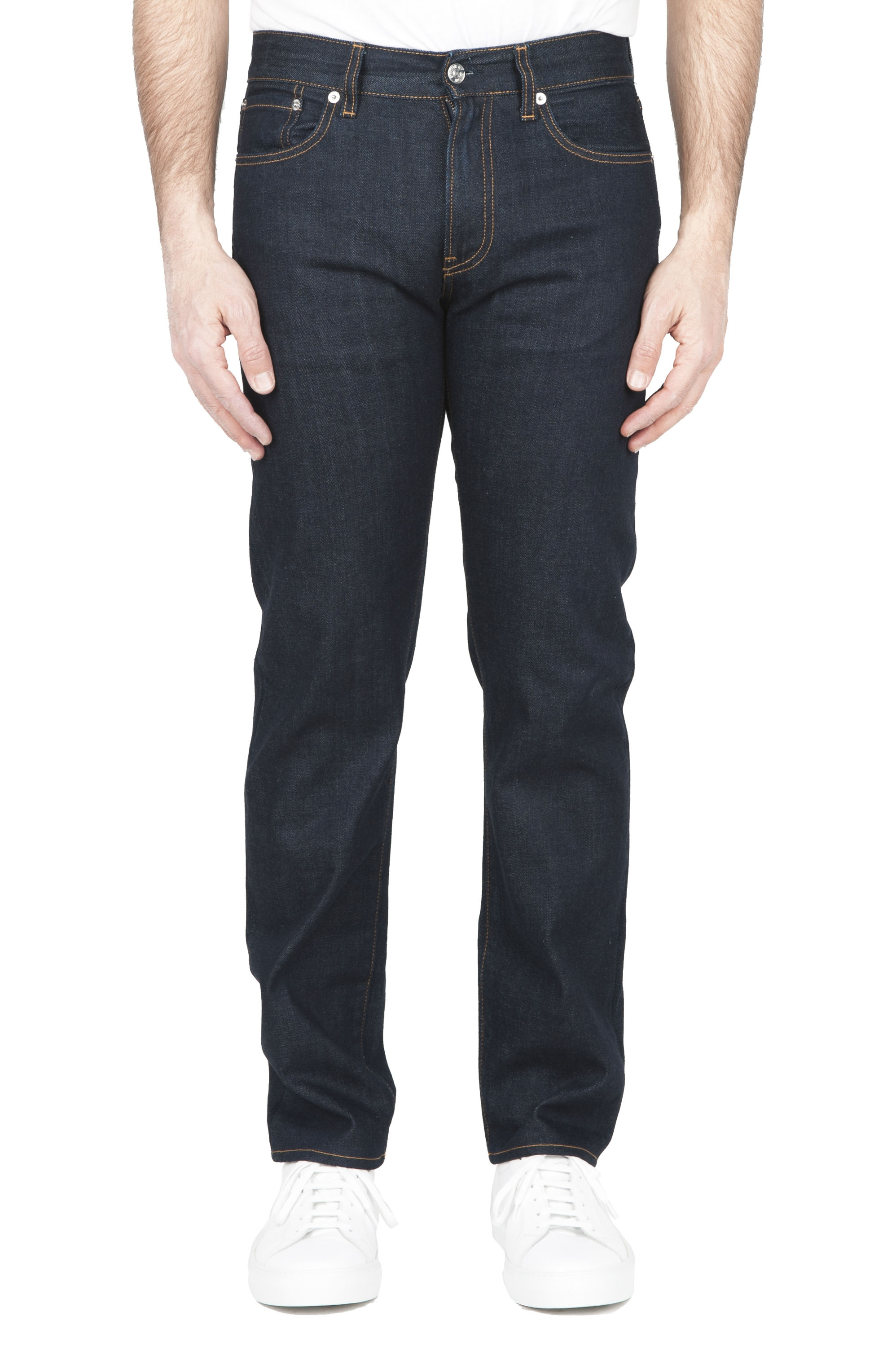 SBU 01449 Natural indigo dyed washed japanese selvedge denim blue jeans 01