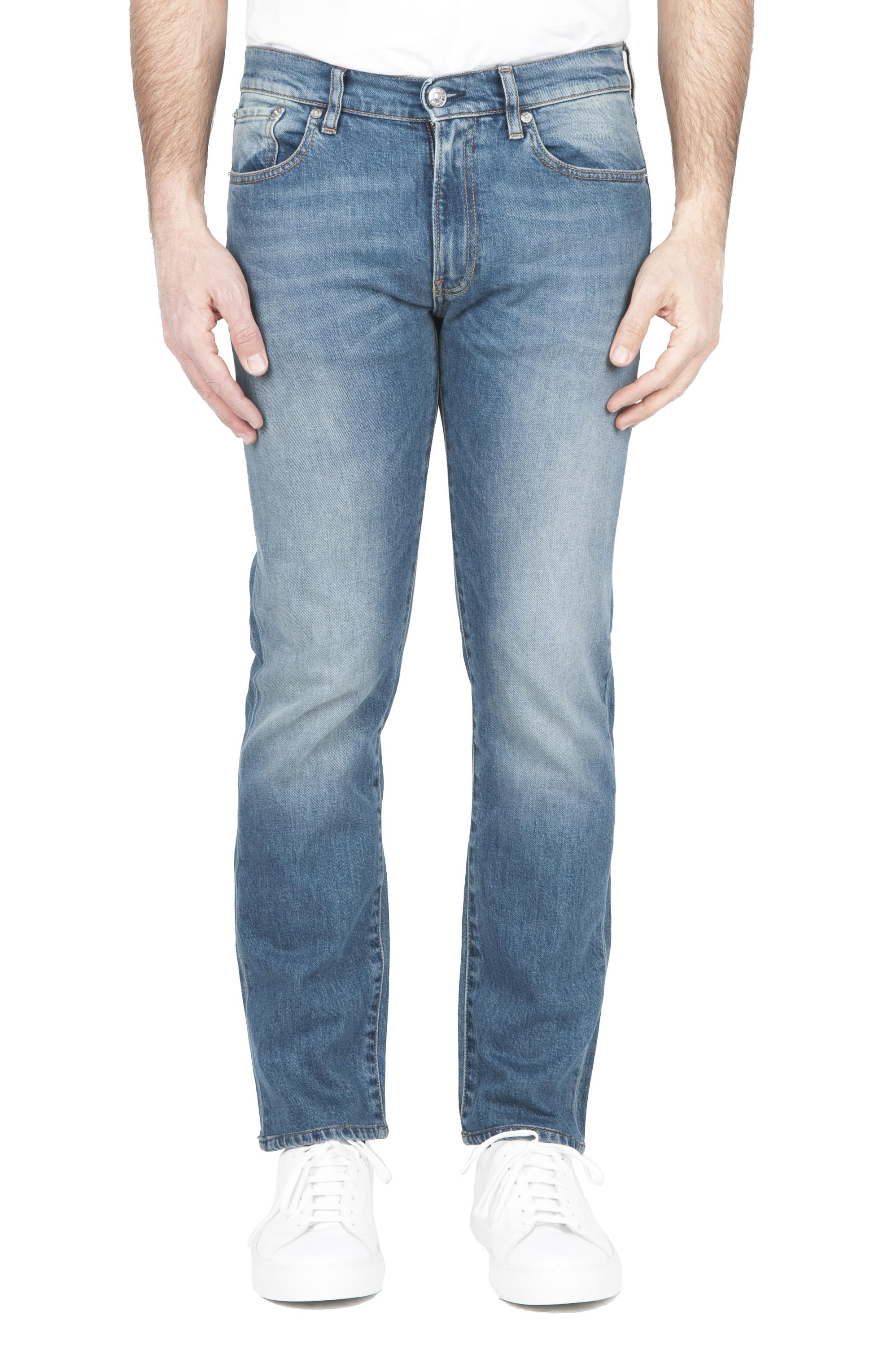 SBU 01450 Pure indigo dyed stone bleached stretch cotton blue jeans 01