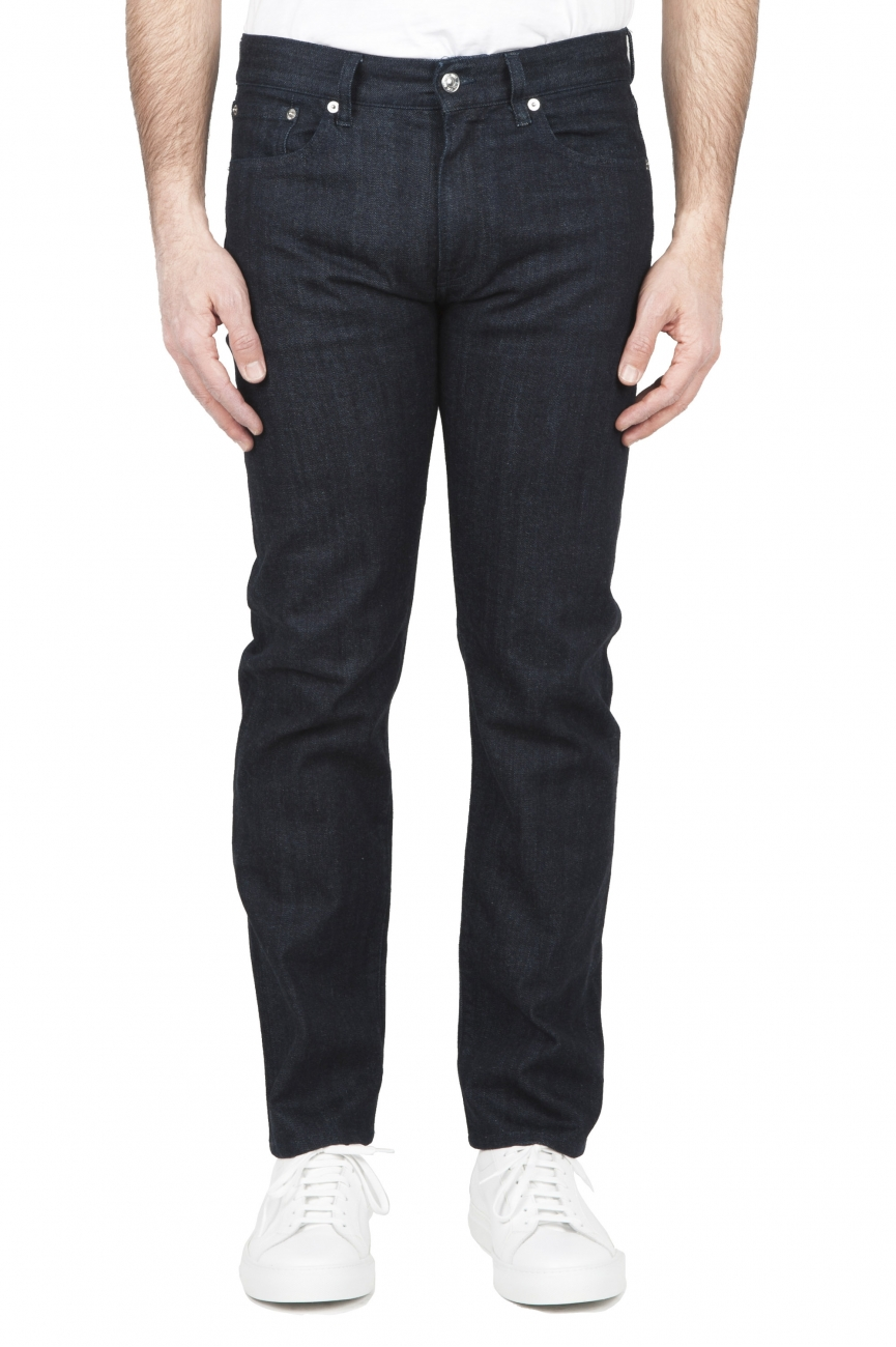 SBU 01451 Jeans elasticizzato indaco naturale denim giapponese cimosato 01