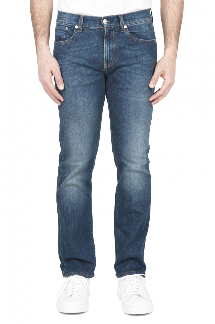 SBU 01452 Pure indigo dyed stone washed stretch cotton blue jeans 01