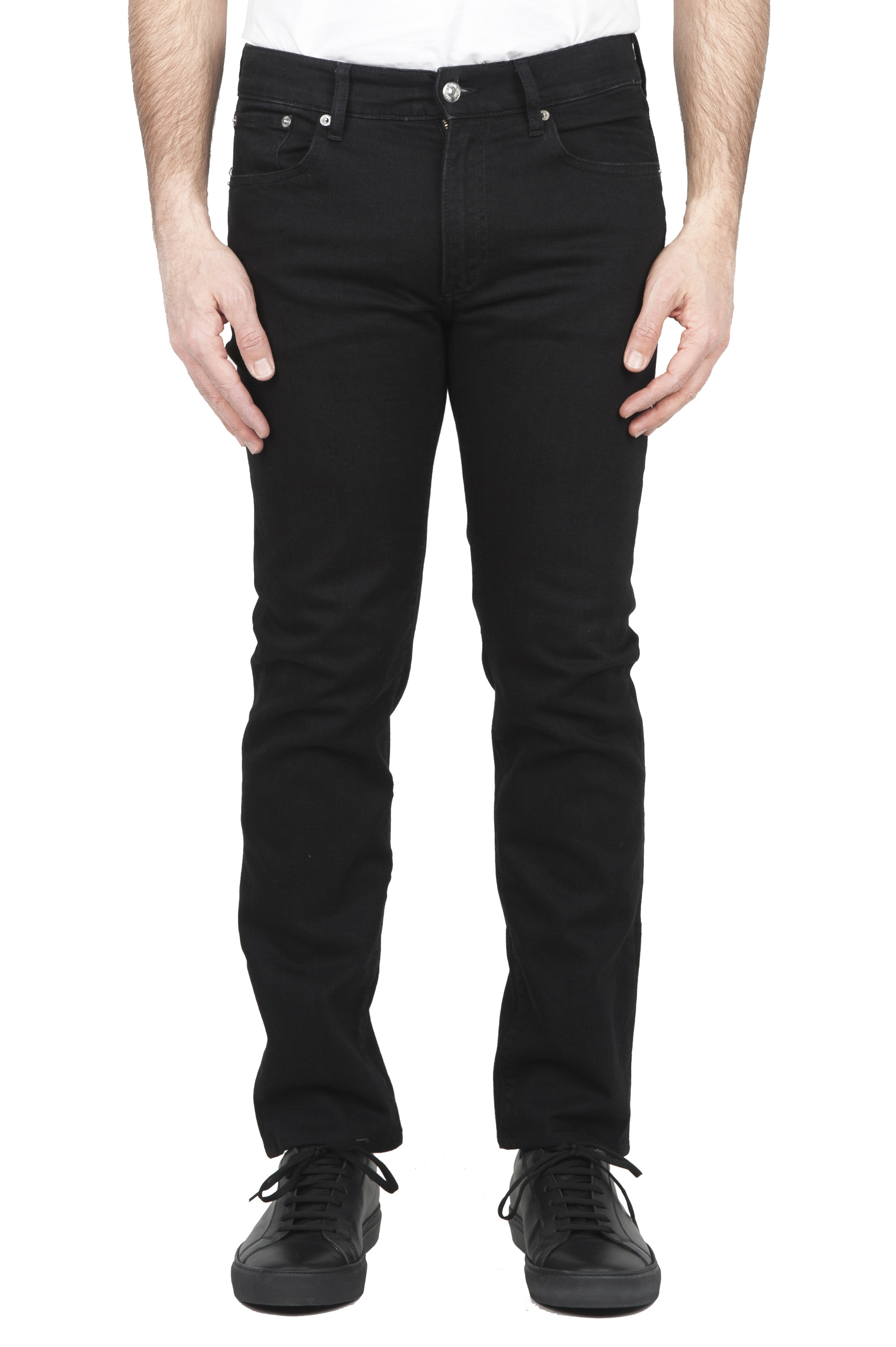 SBU 01587 Natural ink dyed black stretch cotton jeans 01