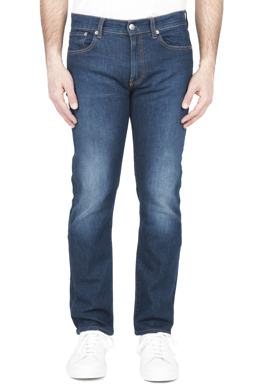 SBU 01453 Pure indigo dyed used washed stretch cotton blue jeans 01