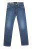 SBU 01453 Pantalones vaqueros de algodón elástico lavados usados añil puro 06