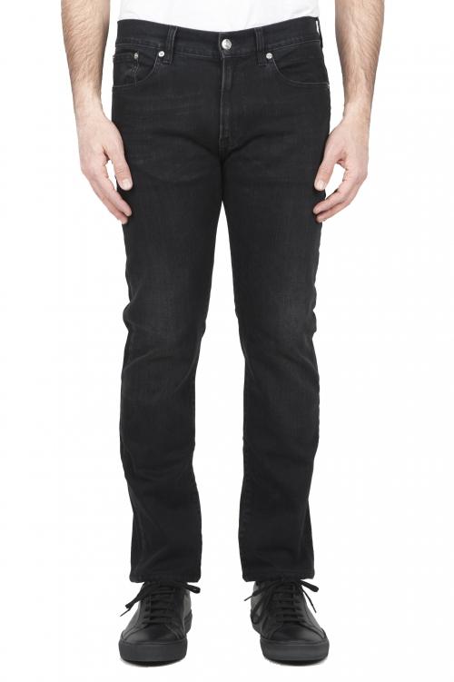 SBU 01455 Jeans nero elasticizzato in tintura vegetale stone washed 01