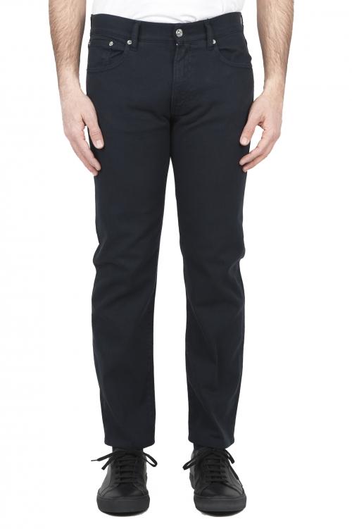 SBU 01666 Pantalones vaqueros de algodón denim elástico azul overdyed prelavado 01