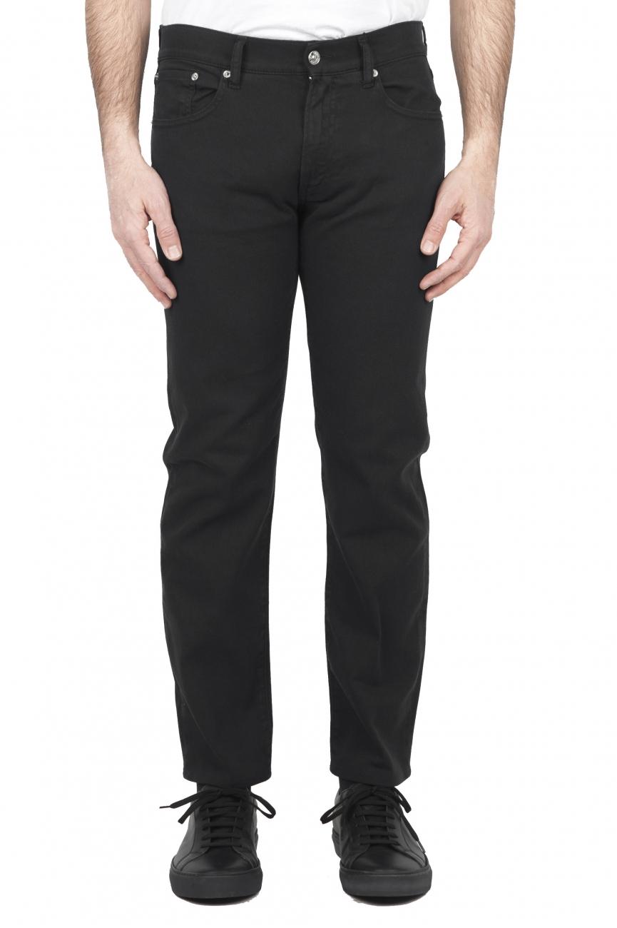 SBU 01668 Pantalones vaqueros de algodón denim elástico negro overdyed prelavado 01