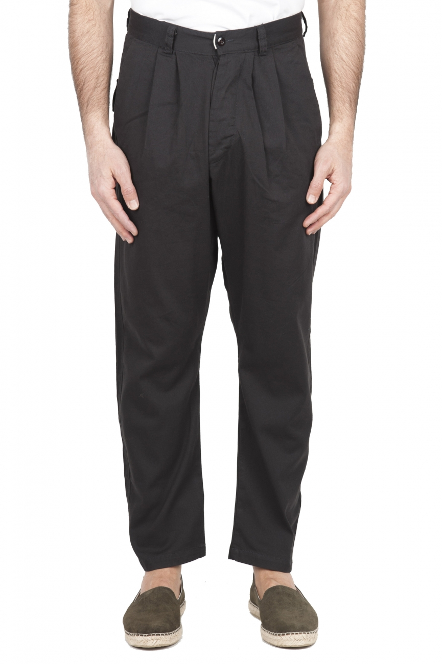 SBU 01669 Pantalón japonés de dos pinzas en algodón marrón 01